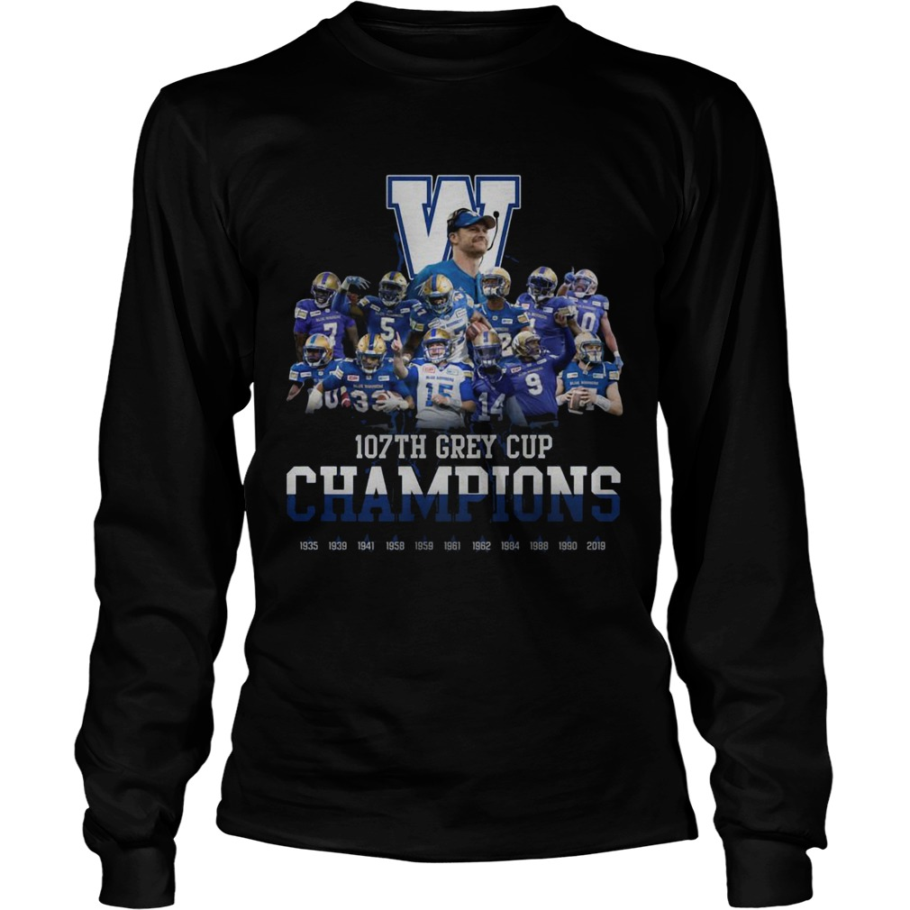107th Grey Cup Blue Bombers Champions  LongSleeve