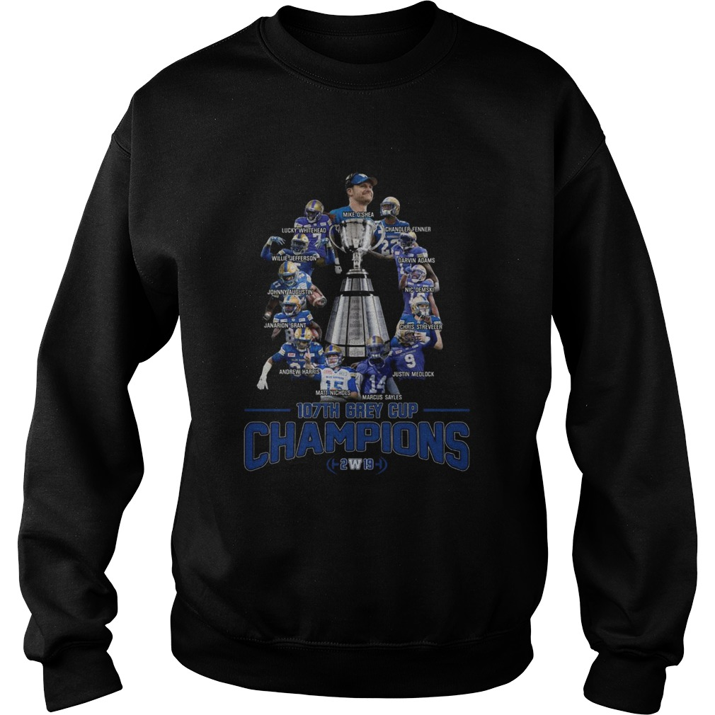107th Grey Cup Blue Bombers Players Champions 2019  Sweatshirt