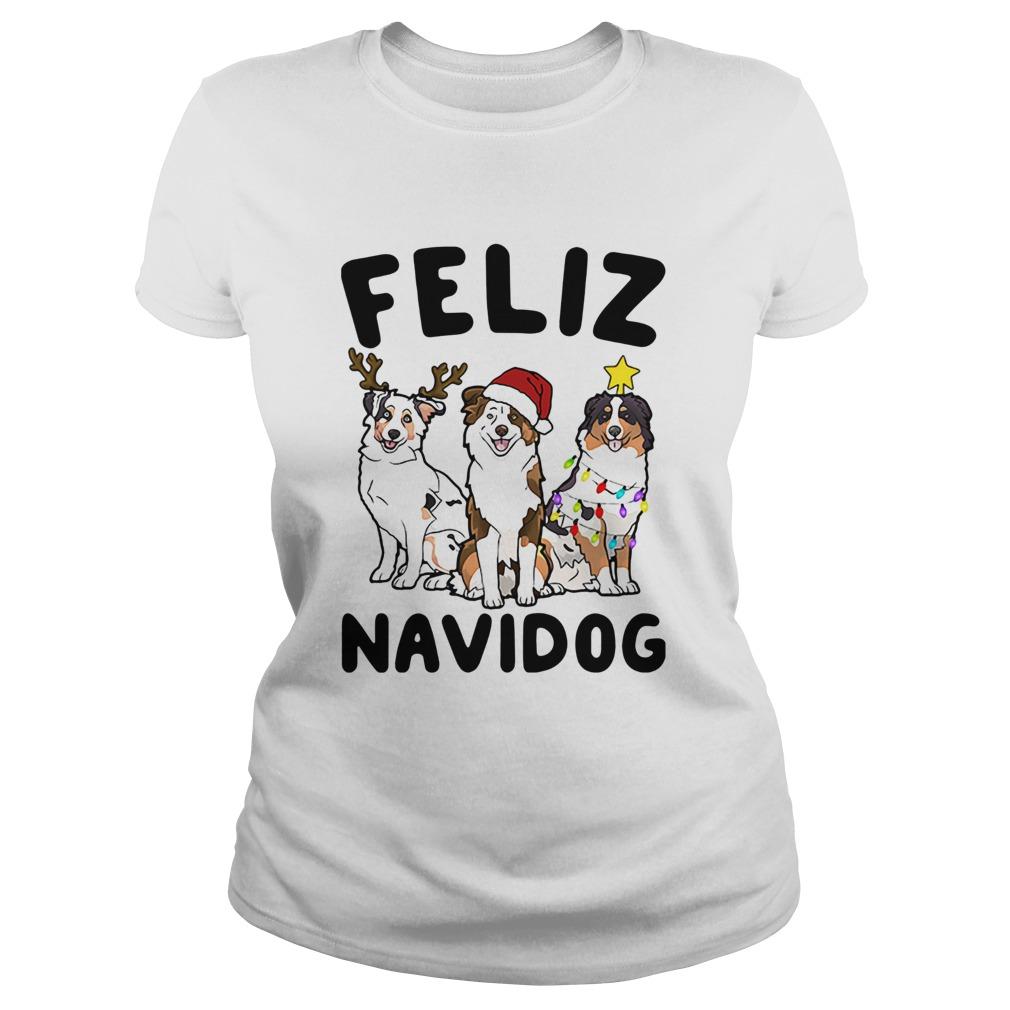 Australian Shepherd Feliz Navidog  Classic Ladies