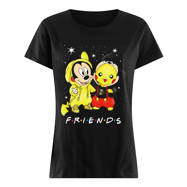 Baby Mickey Mouse And Pikachu Friends Christmas  Classic Women's T-shirt