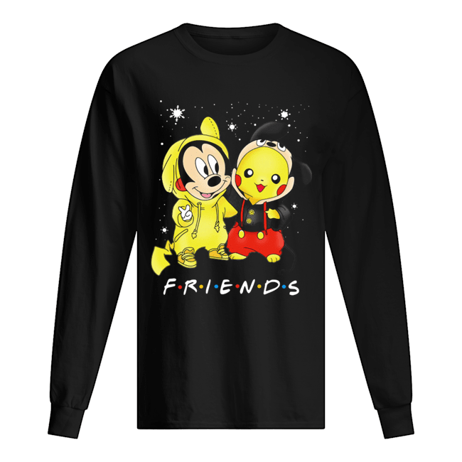 Baby Mickey Mouse And Pikachu Friends Christmas  Long Sleeved T-shirt