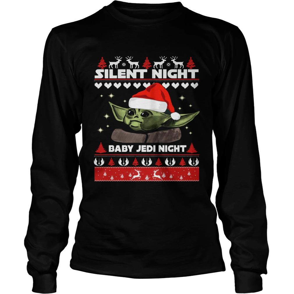 Baby Yoda Silent Night baby Jedi Knight ugly christmas  LongSleeve