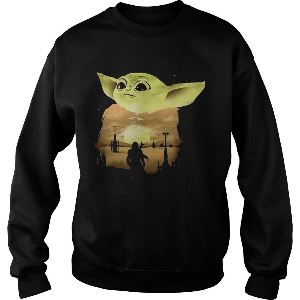 Baby Yoda Sunset  Sweatshirt