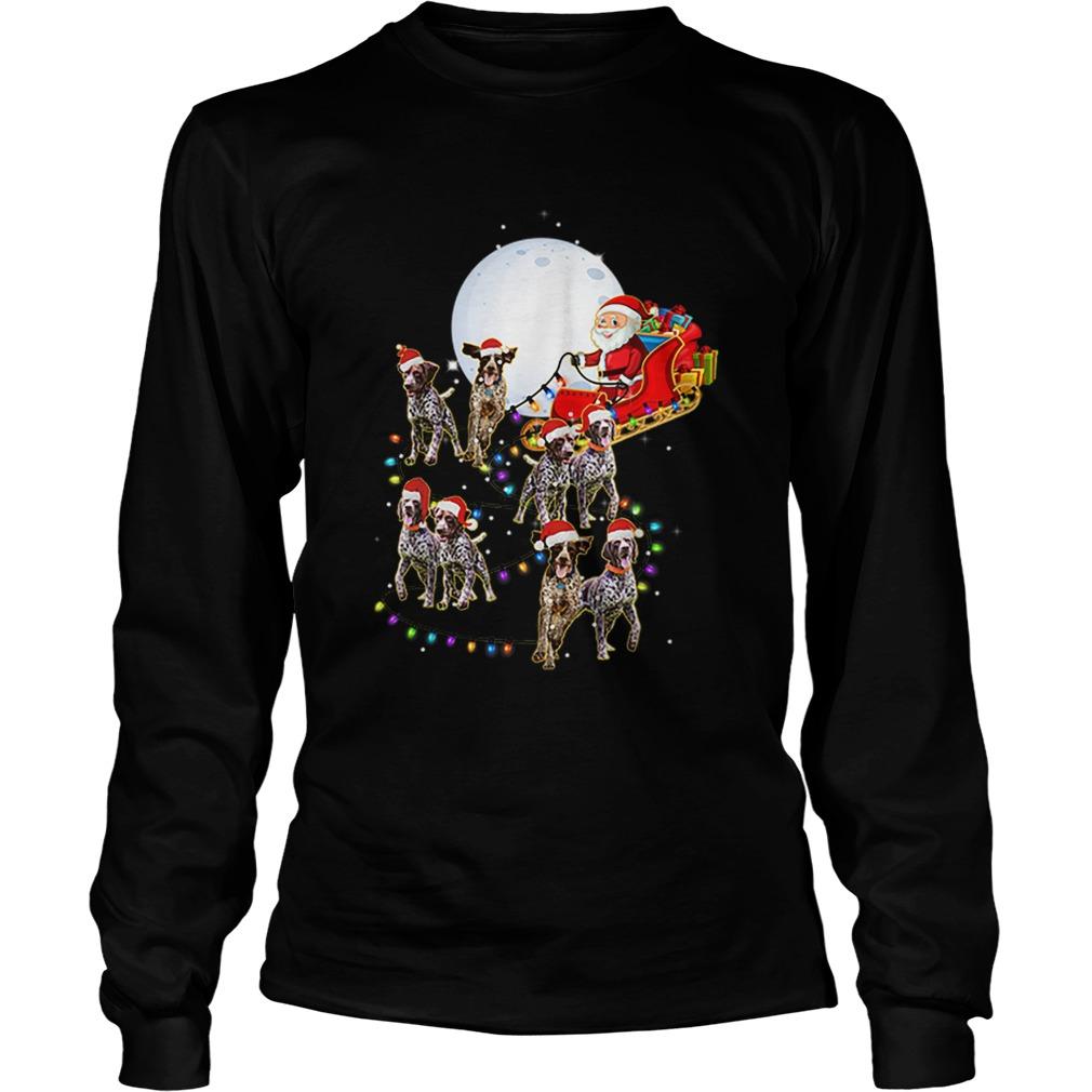 Beautiful German Shorthaired Pointer Christmas Reindeer Lights Gifts  LongSleeve