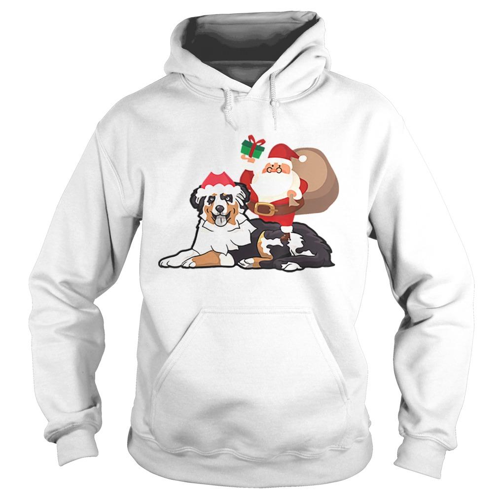 Beautiful Santa Riding Australian Shepherd Christmas Pajama Gift  Hoodie