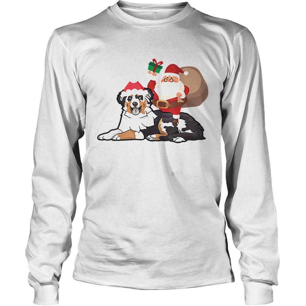 Beautiful Santa Riding Australian Shepherd Christmas Pajama Gift  LongSleeve