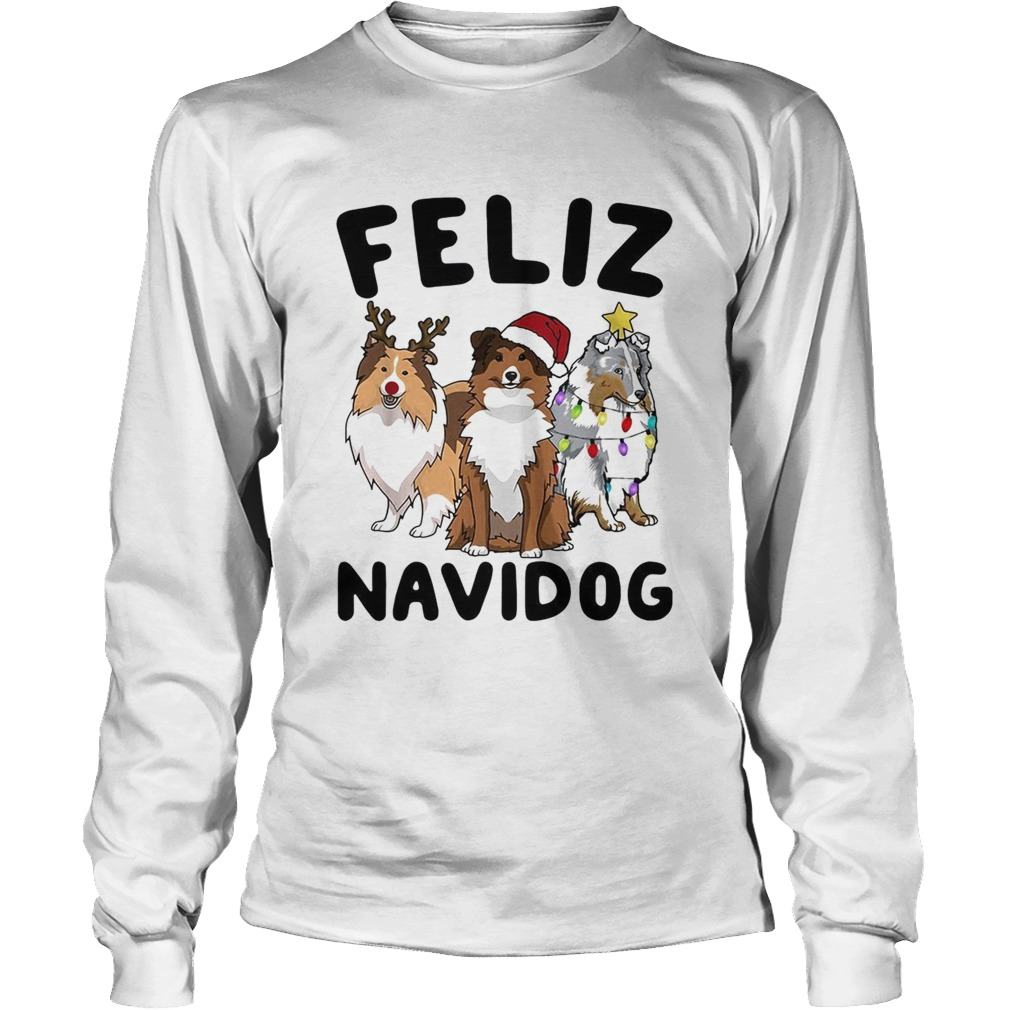 Collie Feliz navidog Christmas  LongSleeve