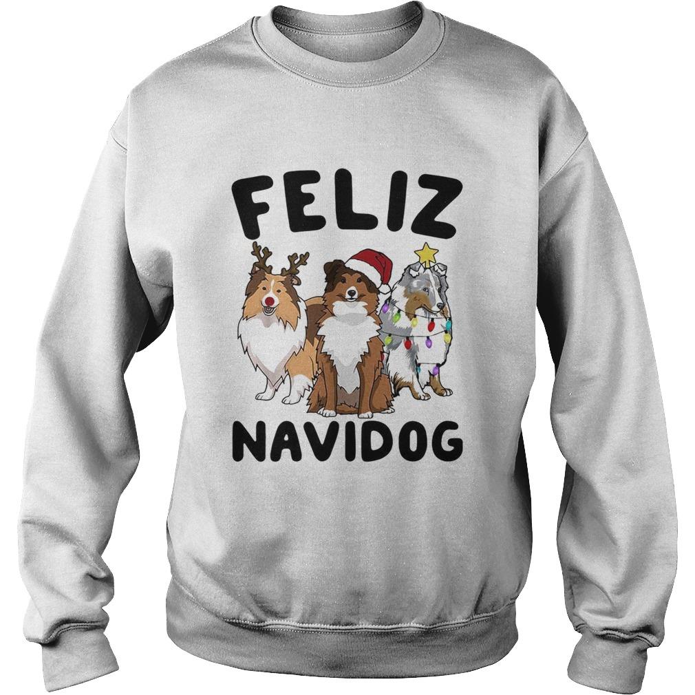 Collie Feliz navidog Christmas  Sweatshirt