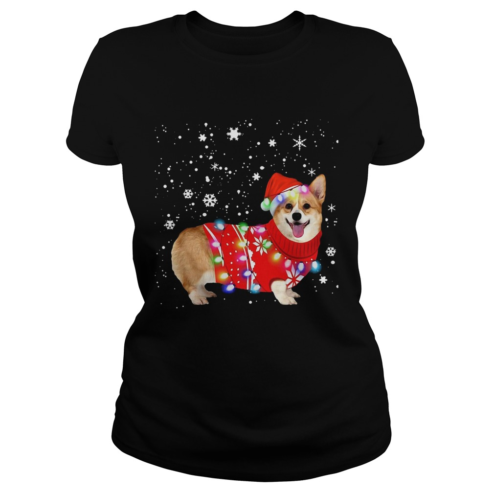 Corgi lovely christmas light Crewneck  Classic Ladies