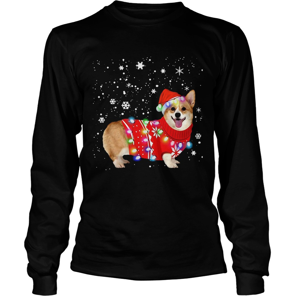 Corgi lovely christmas light Crewneck  LongSleeve