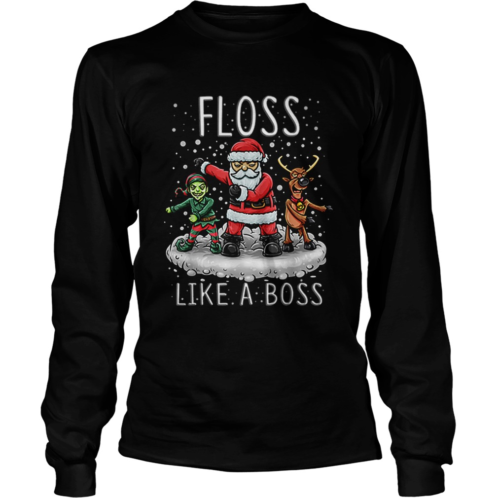Floss Like A Boss Santa Floss Funny Christmas Gift  LongSleeve