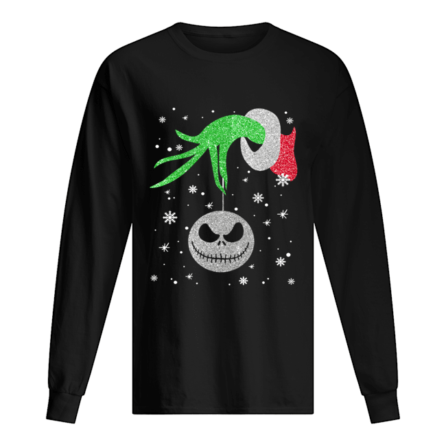 Grinch hand holding Jack Skellington Christmas  Long Sleeved T-shirt