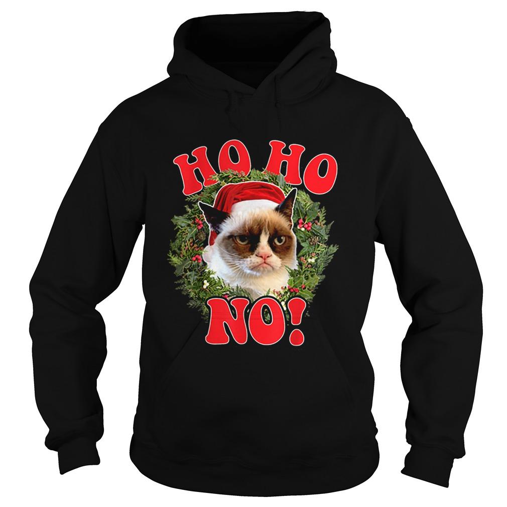Grumpy Cat Ho Ho No Christmas Wreath Holiday Graphic  Hoodie