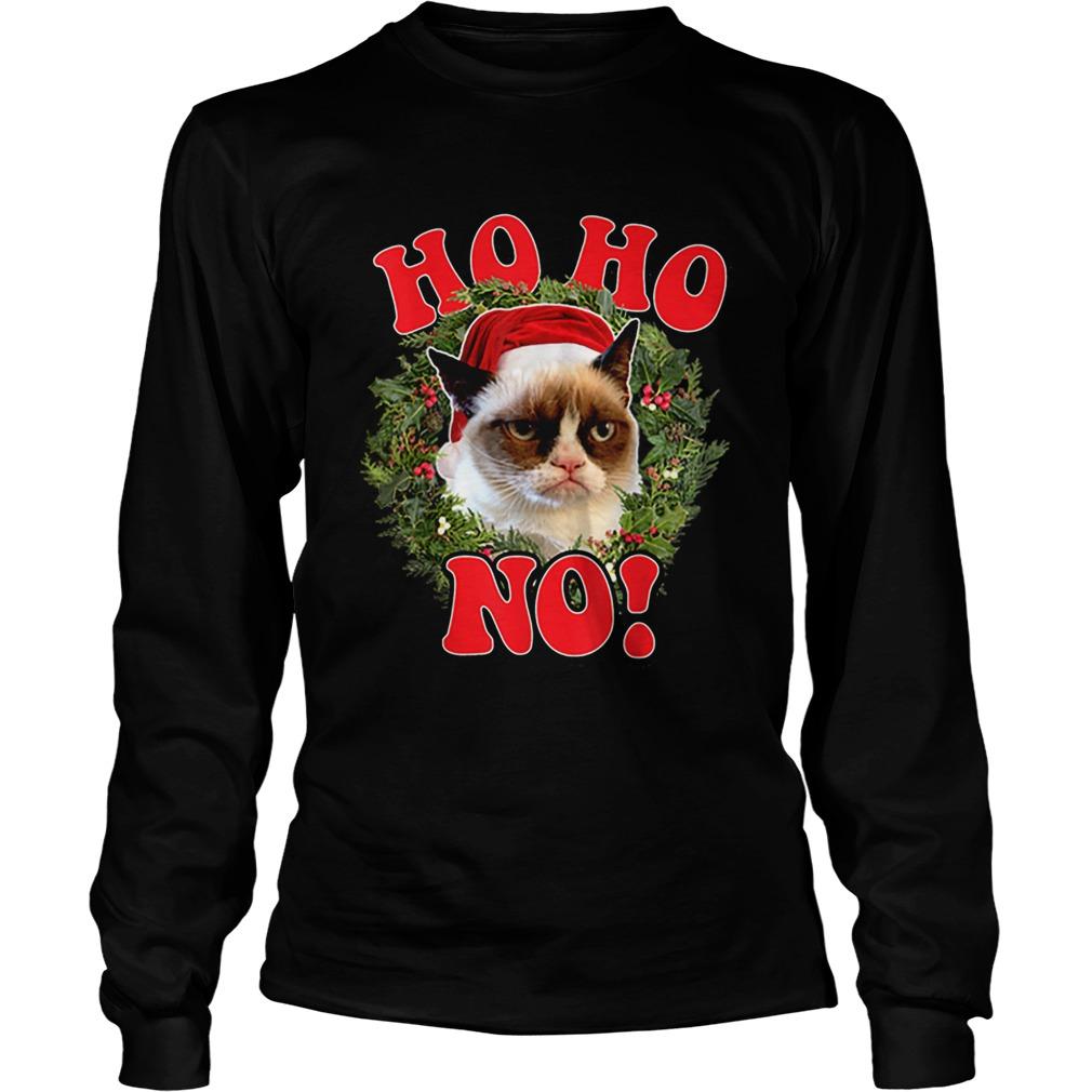 Grumpy Cat Ho Ho No Christmas Wreath Holiday Graphic  LongSleeve