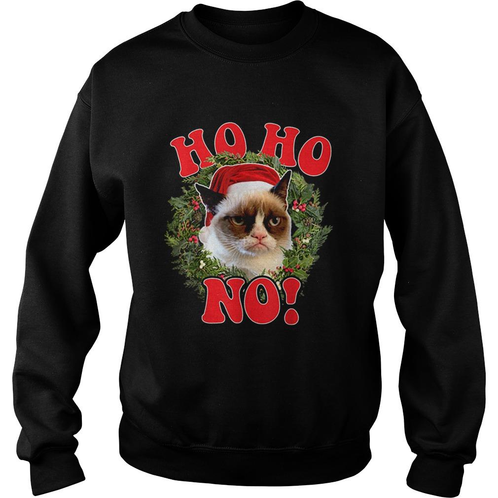 Grumpy Cat Ho Ho No Christmas Wreath Holiday Graphic  Sweatshirt