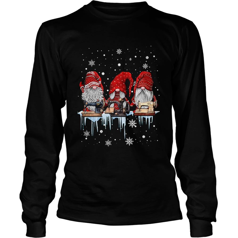Hanging With Red Gnomies Sewing Machine Christmas  LongSleeve