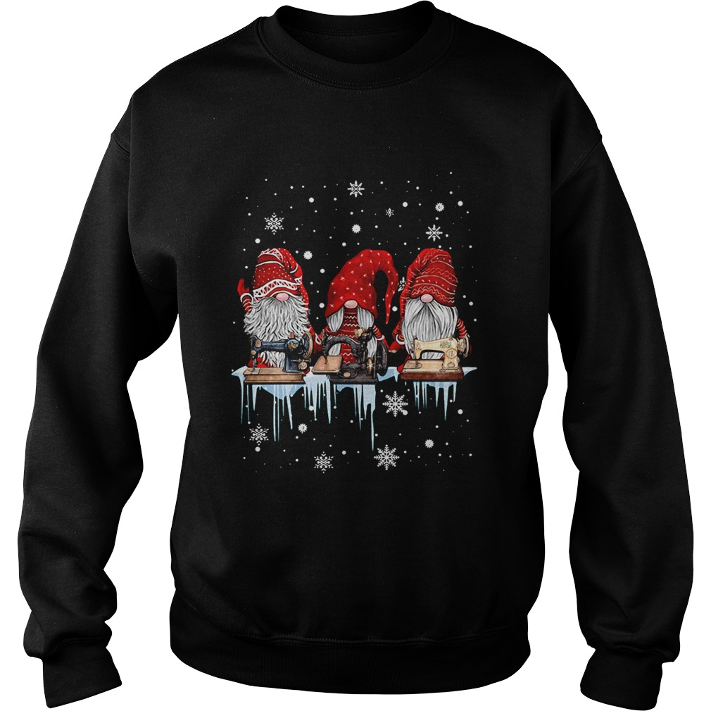Hanging With Red Gnomies Sewing Machine Christmas  Sweatshirt
