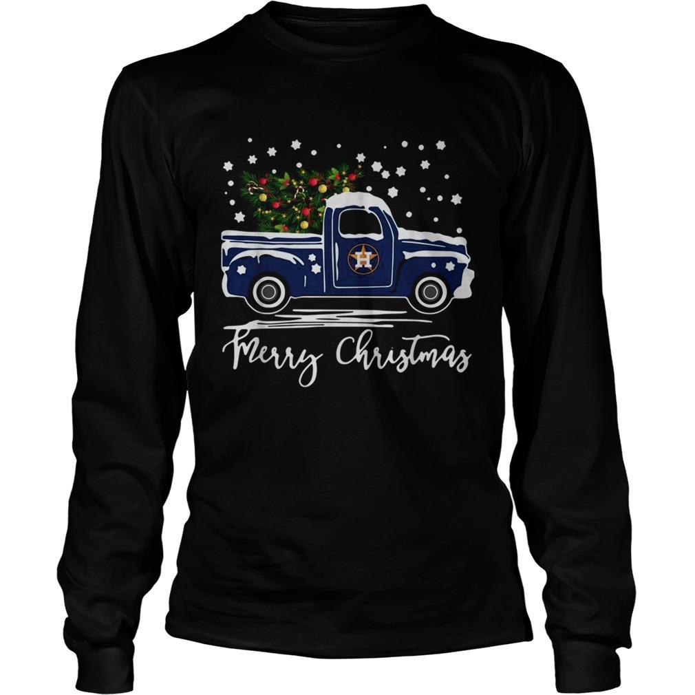 Houston Astros Blue car merry Christmas  LongSleeve