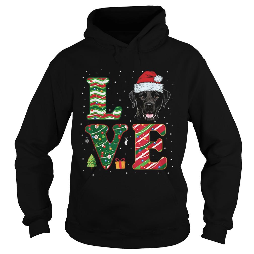 I Love Black Labrador Christmas Santa Hat Gift  Hoodie