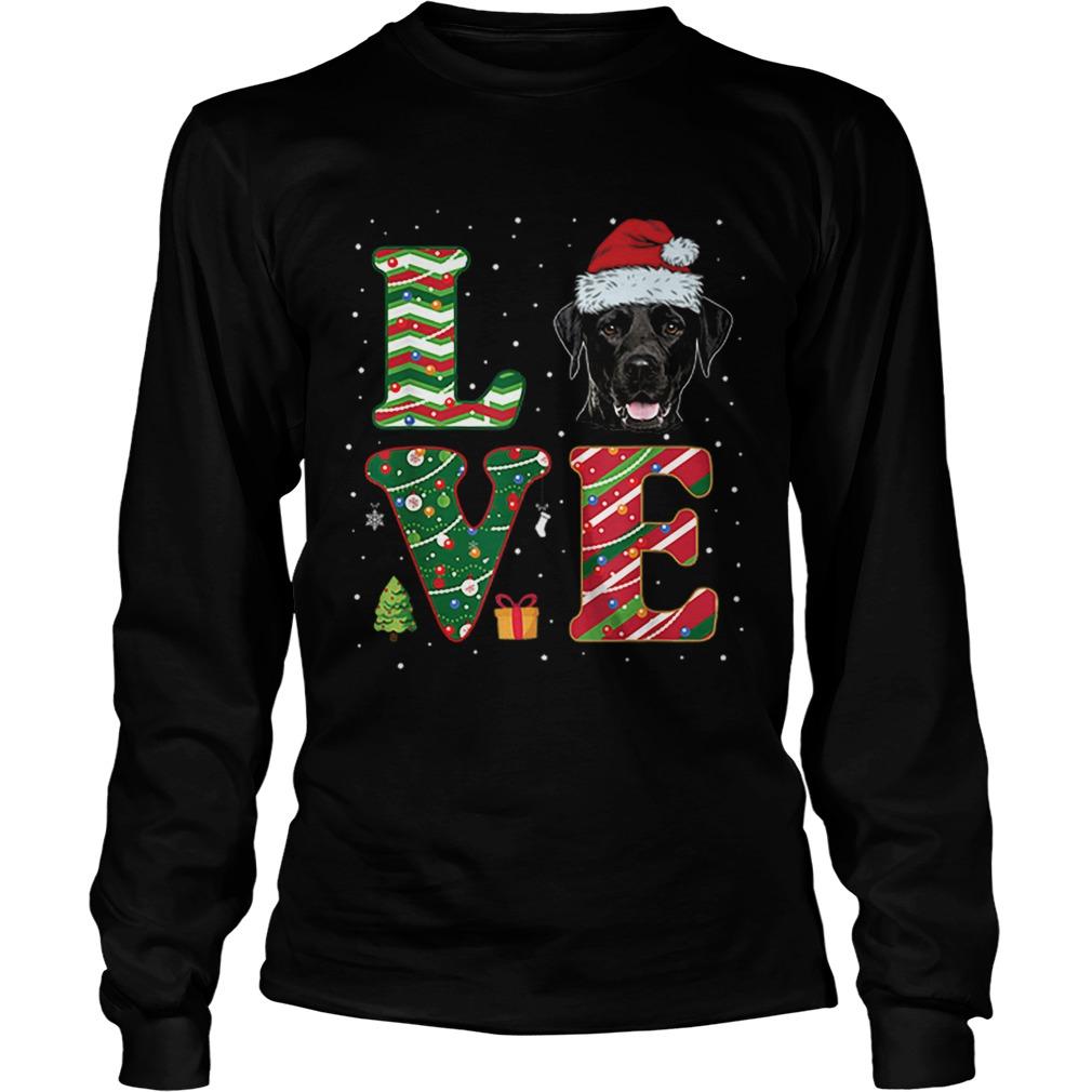 I Love Black Labrador Christmas Santa Hat Gift  LongSleeve