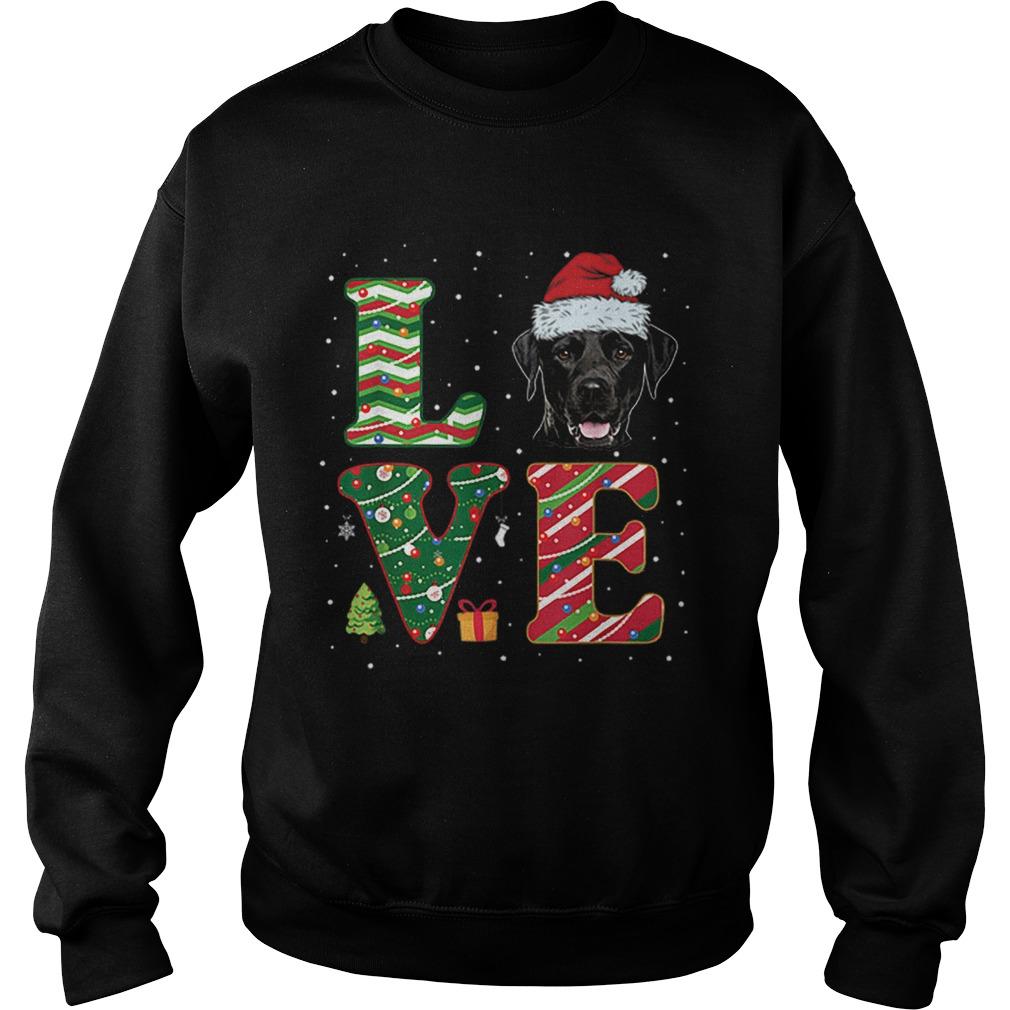 I Love Black Labrador Christmas Santa Hat Gift  Sweatshirt