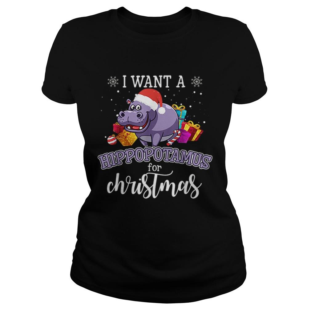 I Want A Hippopotamus For Christmas Hippo Gift Xmas Pajama  Classic Ladies