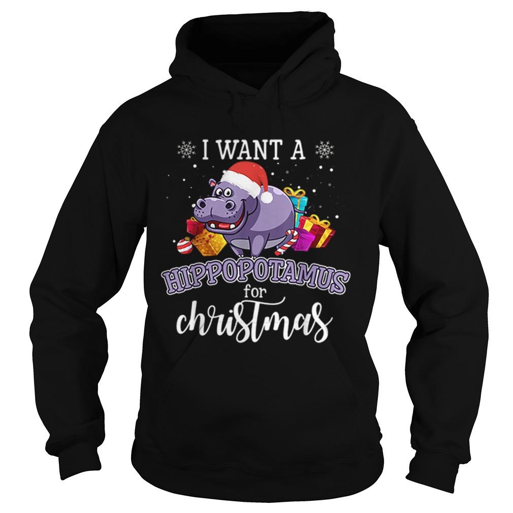 I Want A Hippopotamus For Christmas Hippo Gift Xmas Pajama  Hoodie