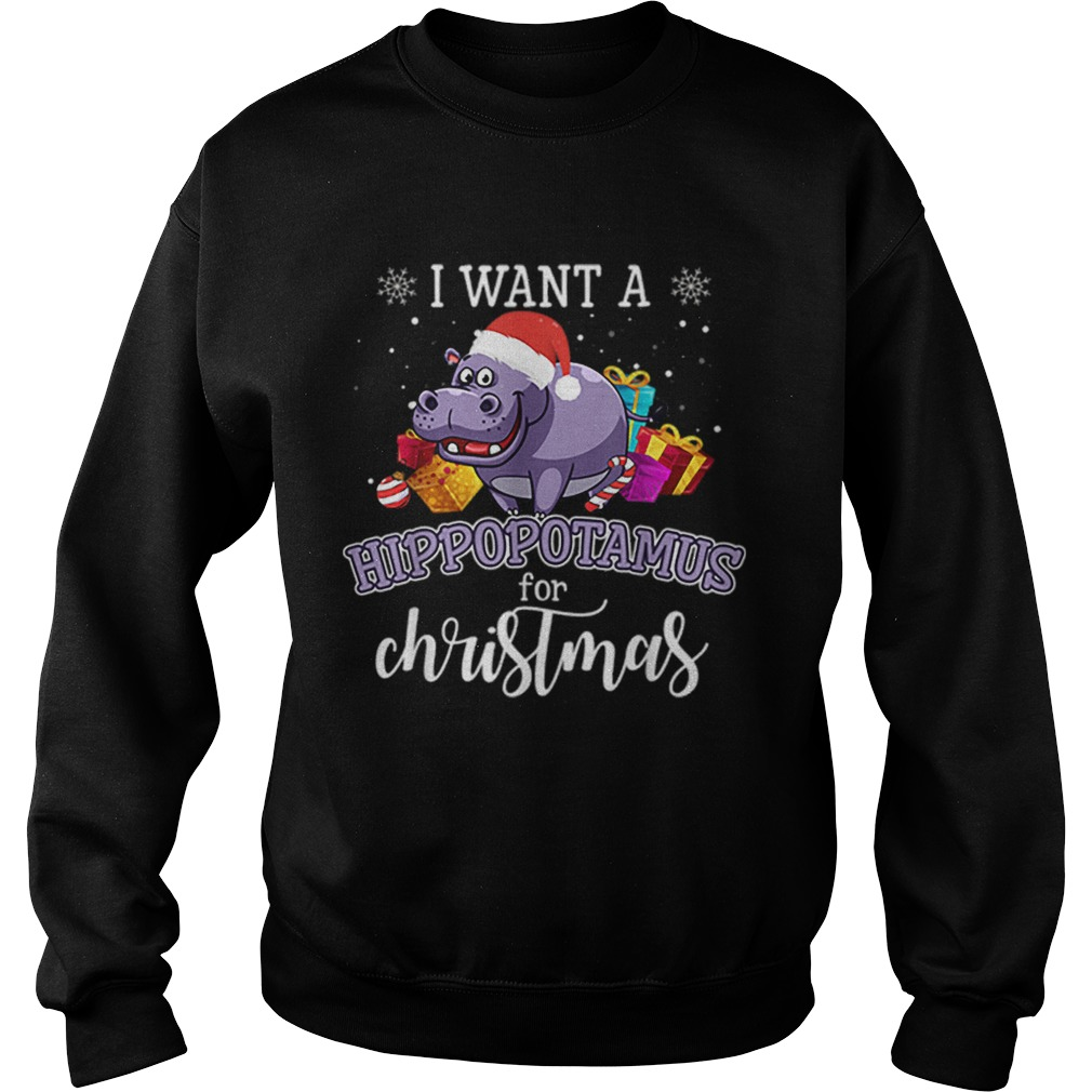 I Want A Hippopotamus For Christmas Hippo Gift Xmas Pajama  Sweatshirt