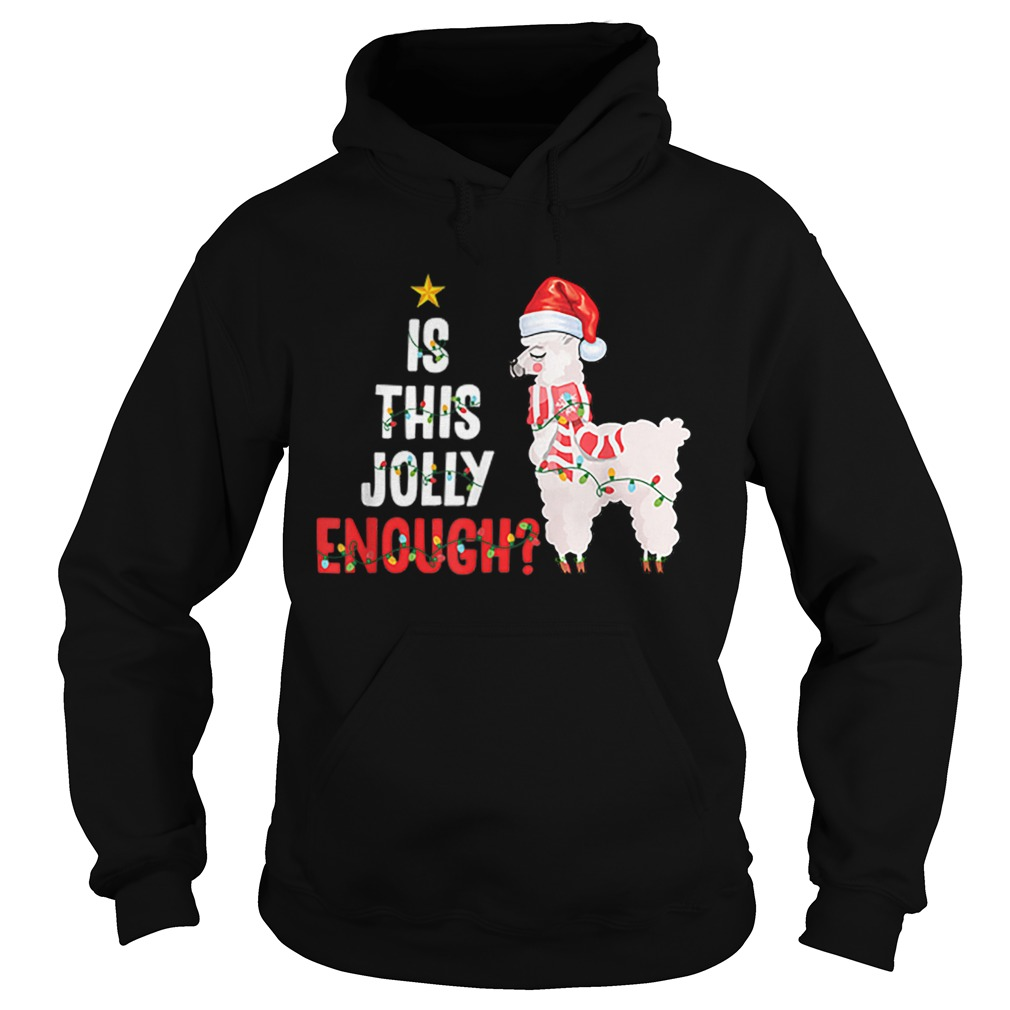 Is This Jolly Enough Llama Funny Xmas Christmas  Hoodie