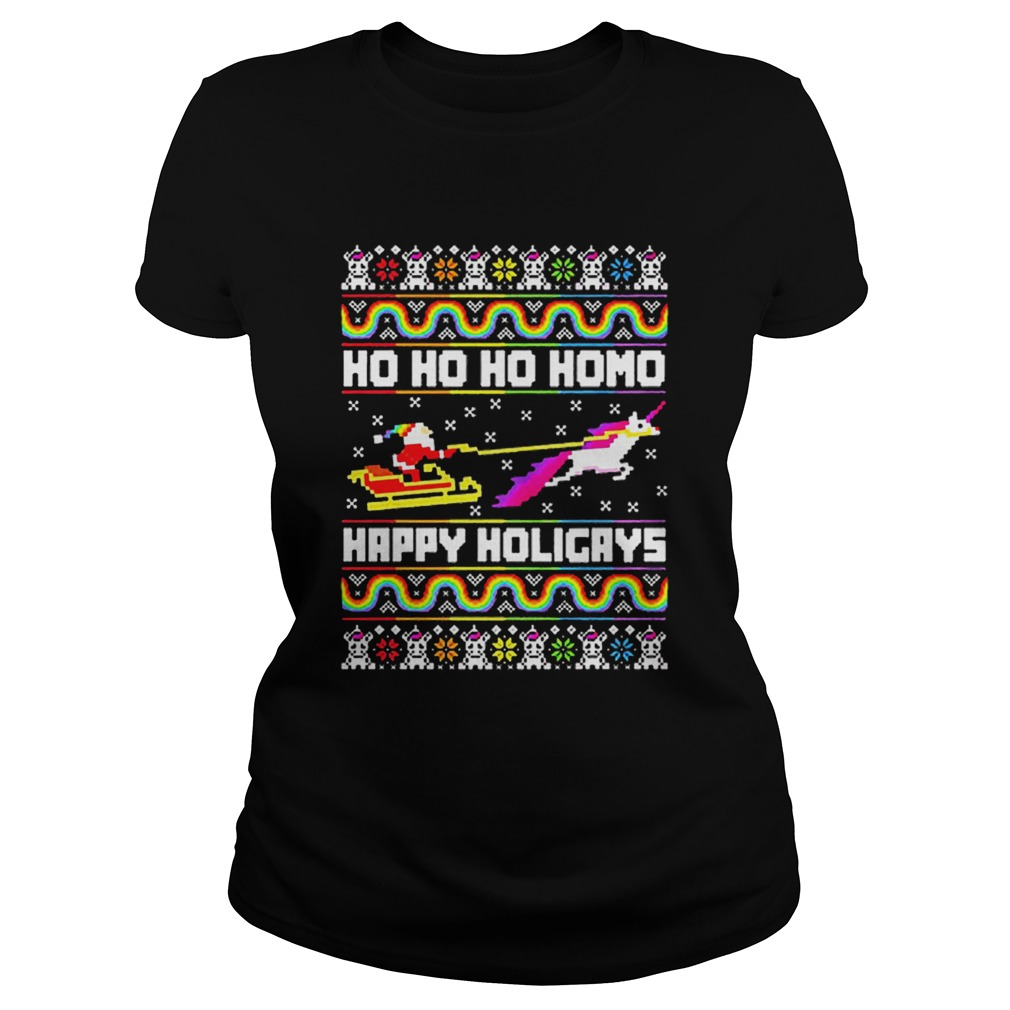 LGBT Santa riding Unicorn ho ho ho homo happy holigays Christmas  Classic Ladies
