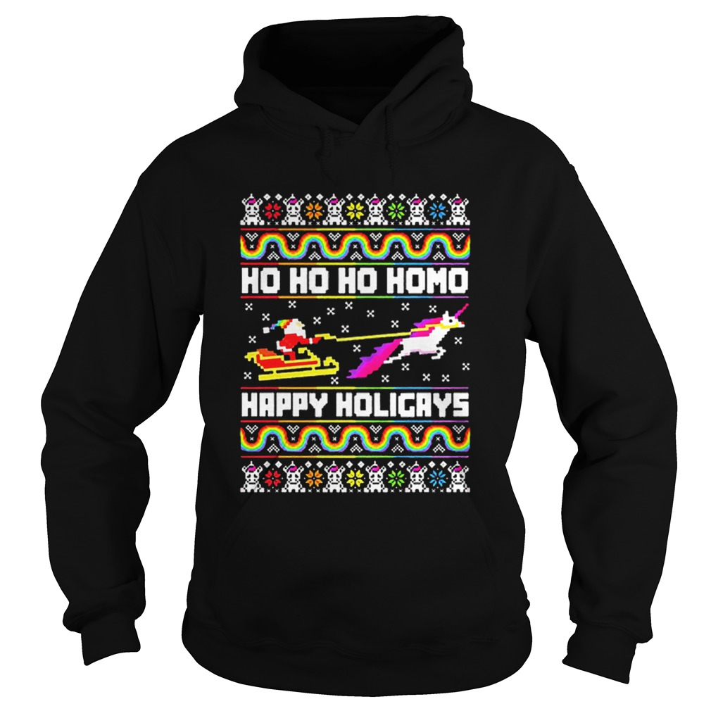 LGBT Santa riding Unicorn ho ho ho homo happy holigays Christmas  Hoodie
