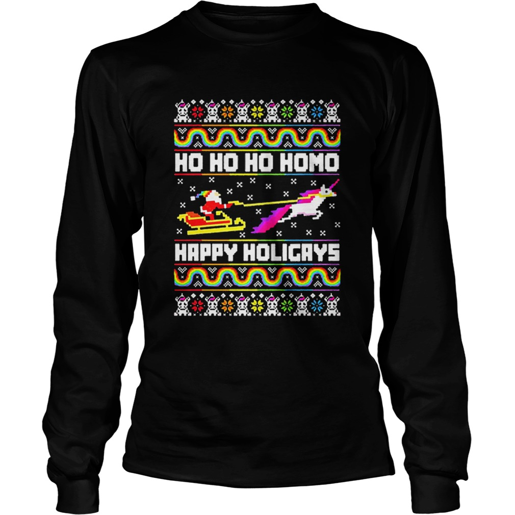 LGBT Santa riding Unicorn ho ho ho homo happy holigays Christmas  LongSleeve
