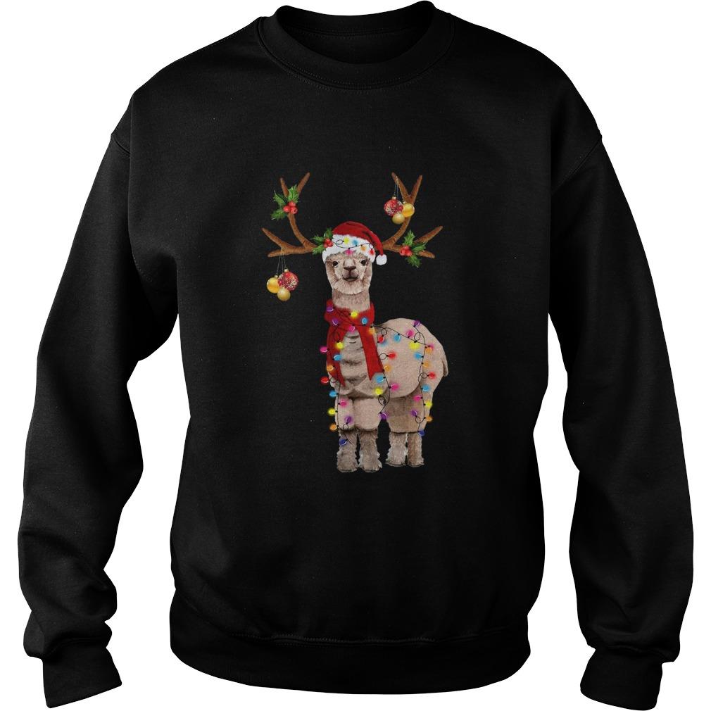 Llama reindeer light Christmas  Sweatshirt