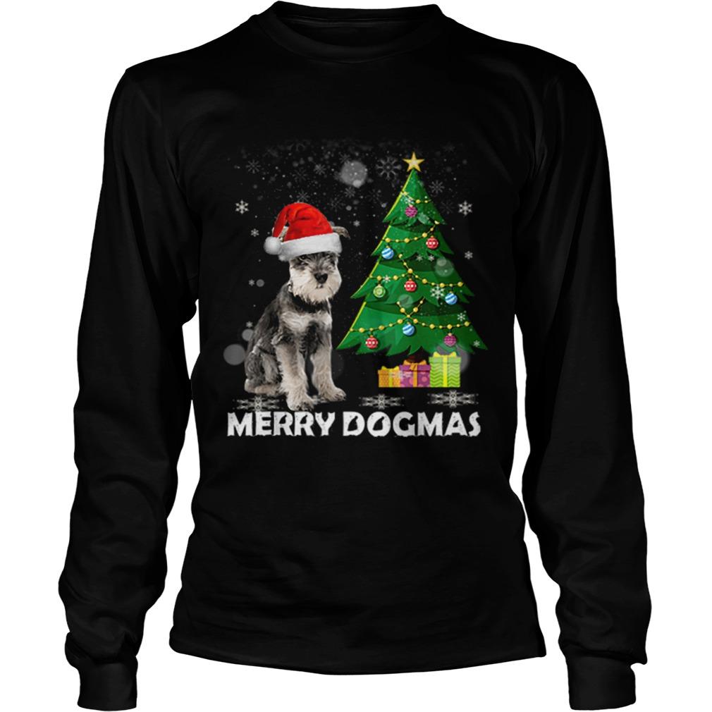 Merry Dogmas Schnauzer Christmas dog decor Xmas tree  LongSleeve