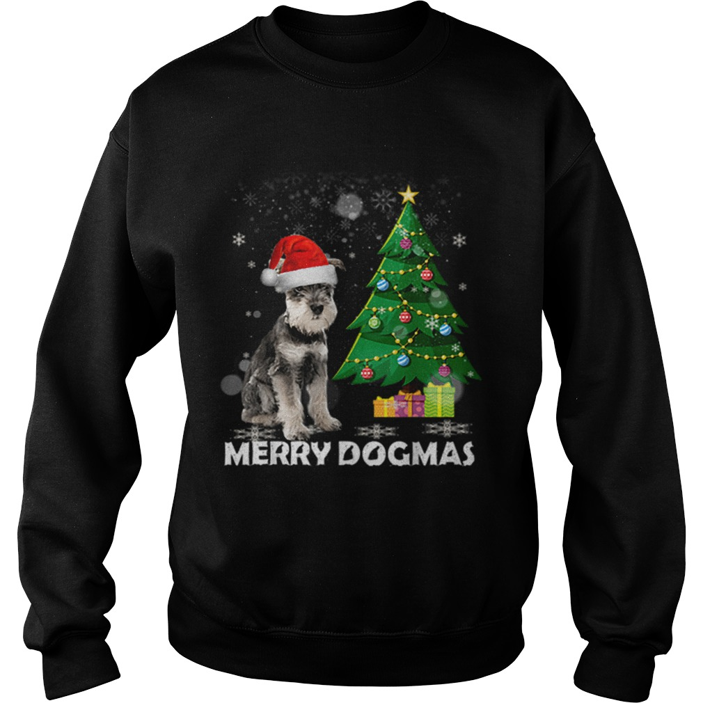 Merry Dogmas Schnauzer Christmas dog decor Xmas tree  Sweatshirt