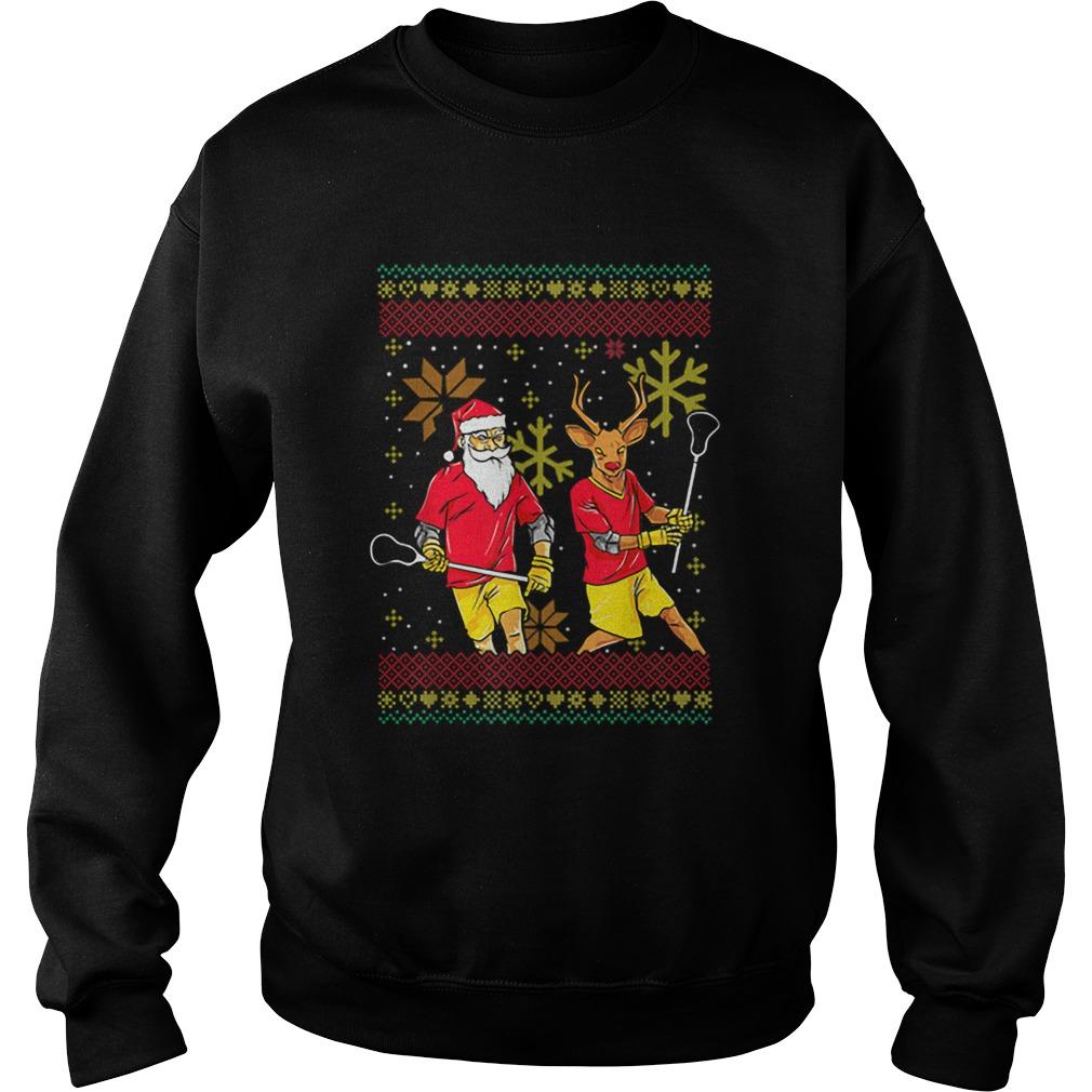 Merry Laxmas Christmas Lacrosse Player Reindeer Santa Claus  Sweatshirt