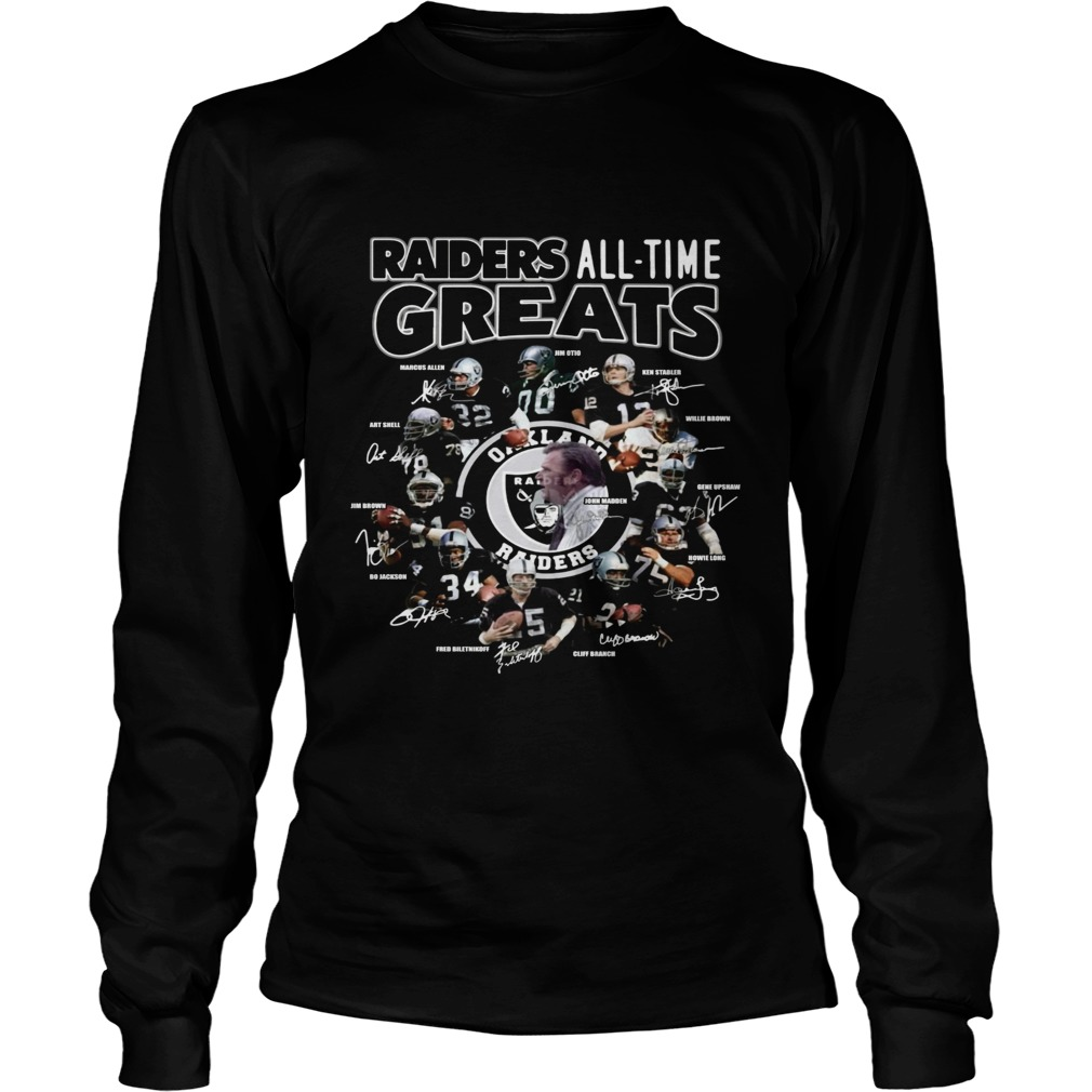 Oakland Raiders all time greats team signatures  LongSleeve