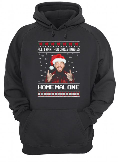 Post Malone All I Want For Christmas Is Home Malone Ugly Christmas  Unisex Hoodie