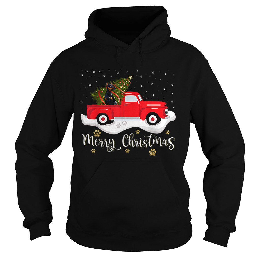Red Truck Merry Christmas Tree Doberman Christmas  Hoodie