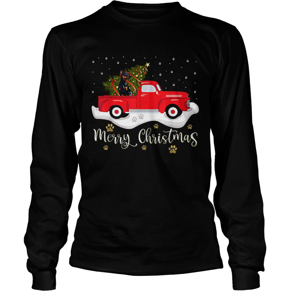 Red Truck Merry Christmas Tree Doberman Christmas  LongSleeve