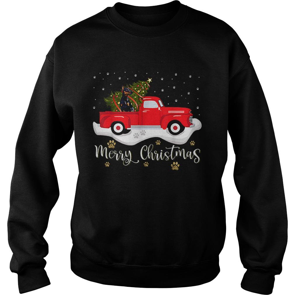 Red Truck Merry Christmas Tree Doberman Christmas  Sweatshirt