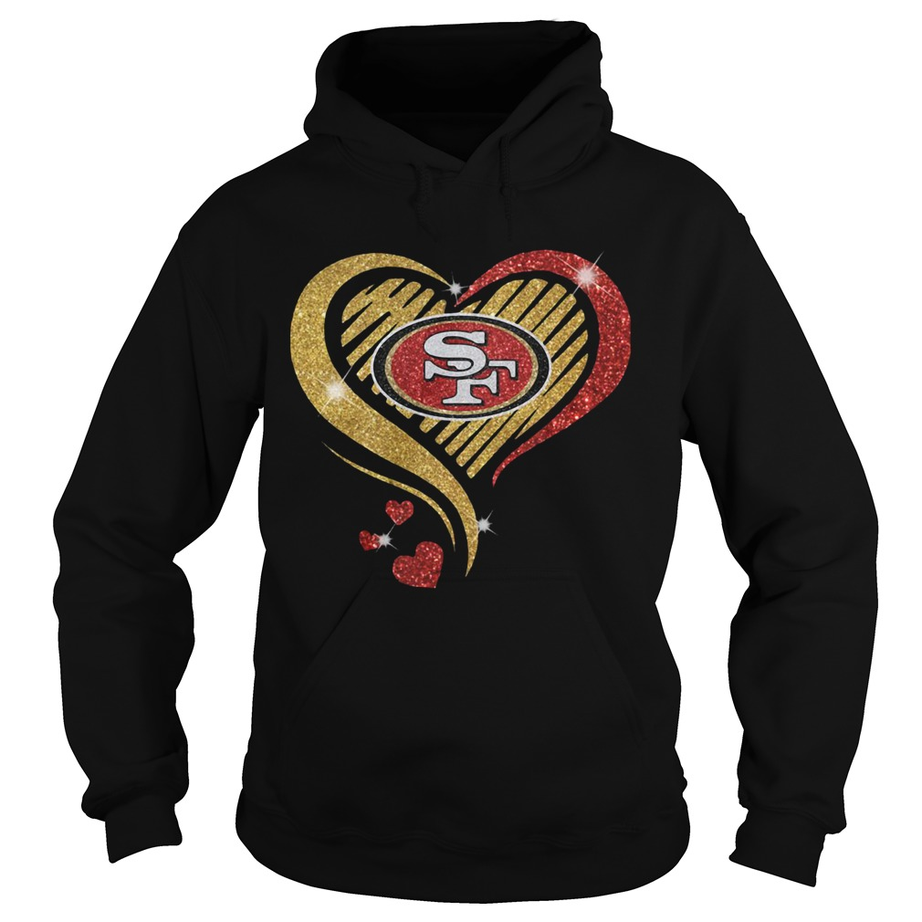 San Francisco 49er Heart Diamond  Hoodie