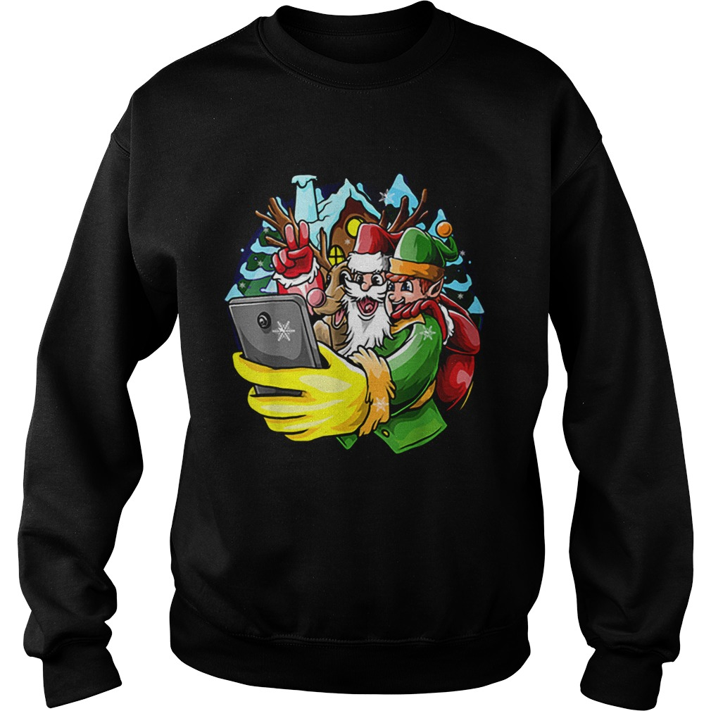 Santa Elf Reindeer Selfie Christmas Friends Group  Sweatshirt