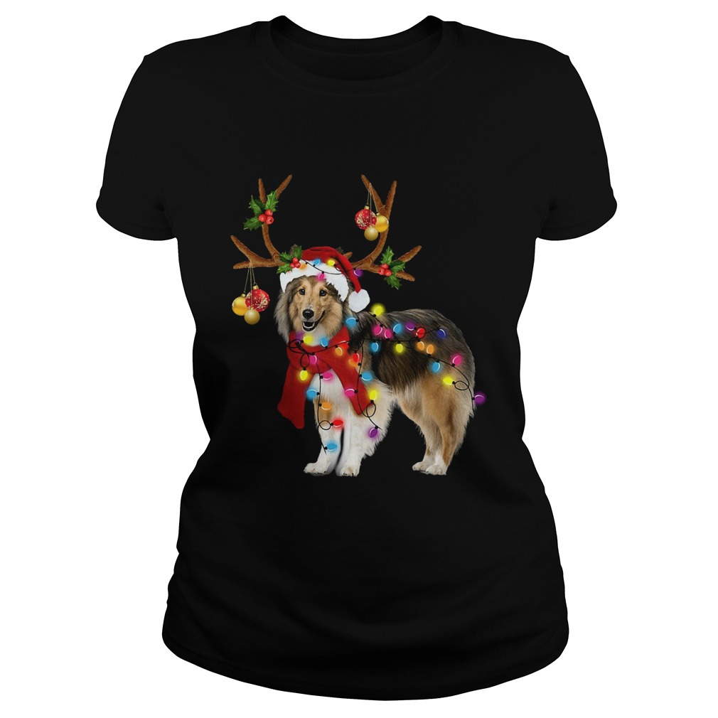 Sheltie gorgeous reindeer light Christmas  Classic Ladies