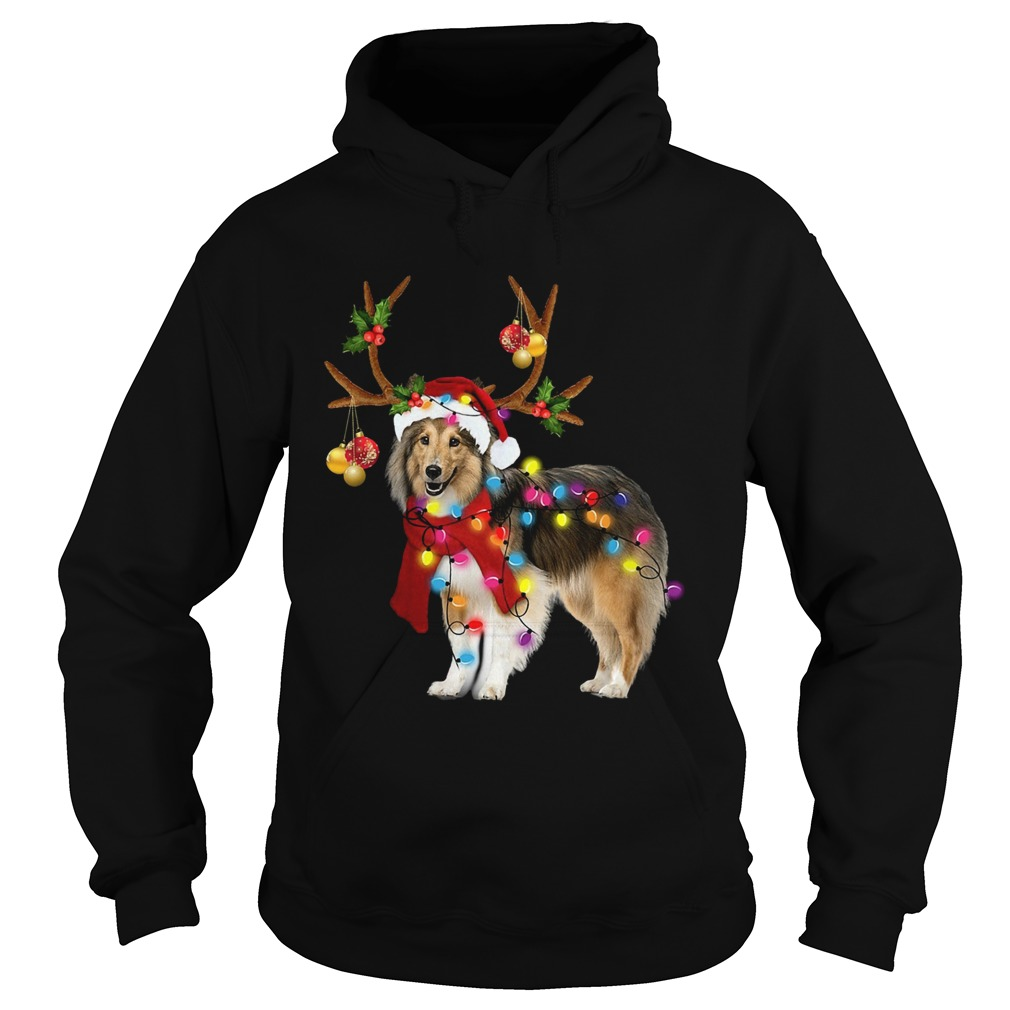 Sheltie gorgeous reindeer light Christmas  Hoodie