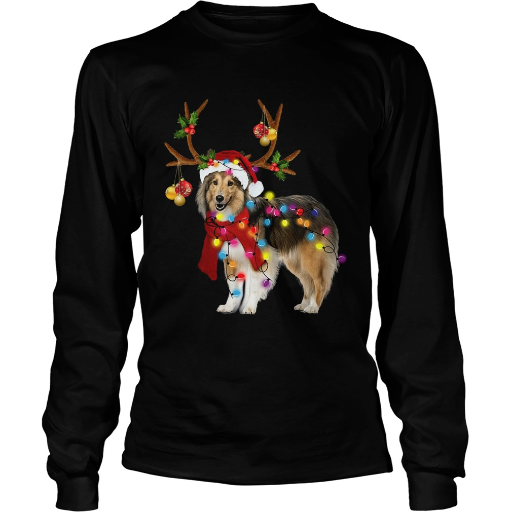 Sheltie gorgeous reindeer light Christmas  LongSleeve