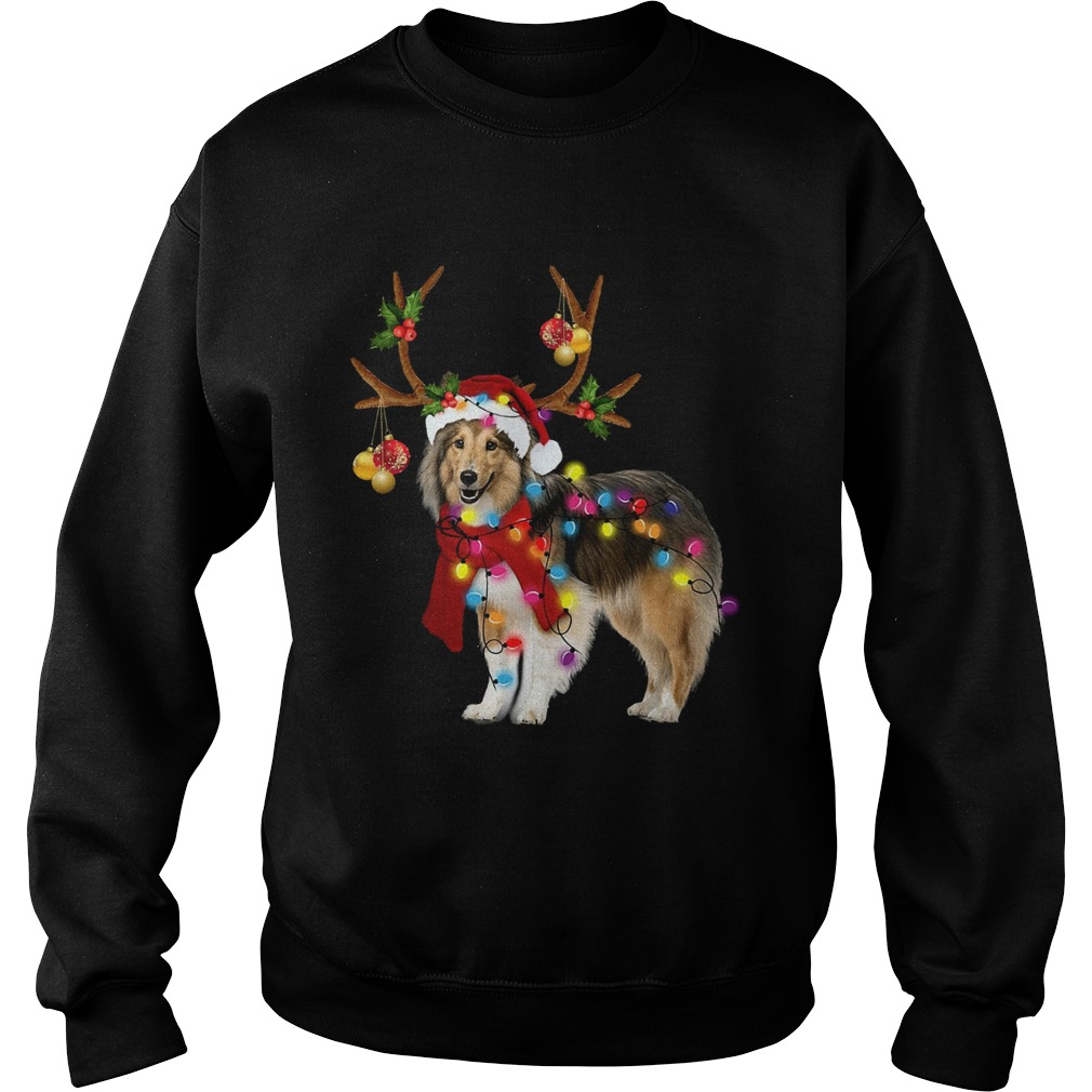 Sheltie gorgeous reindeer light Christmas  Sweatshirt