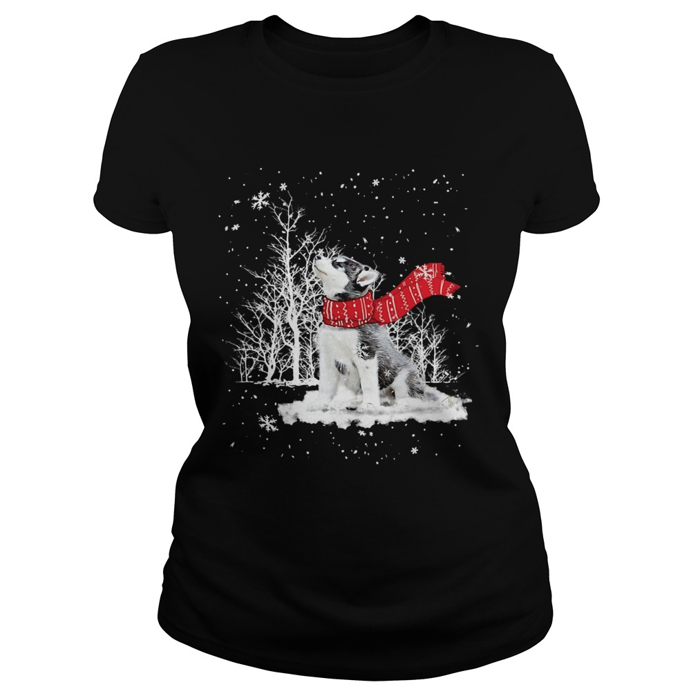 Siberian Husky Snow Crewneck  Classic Ladies