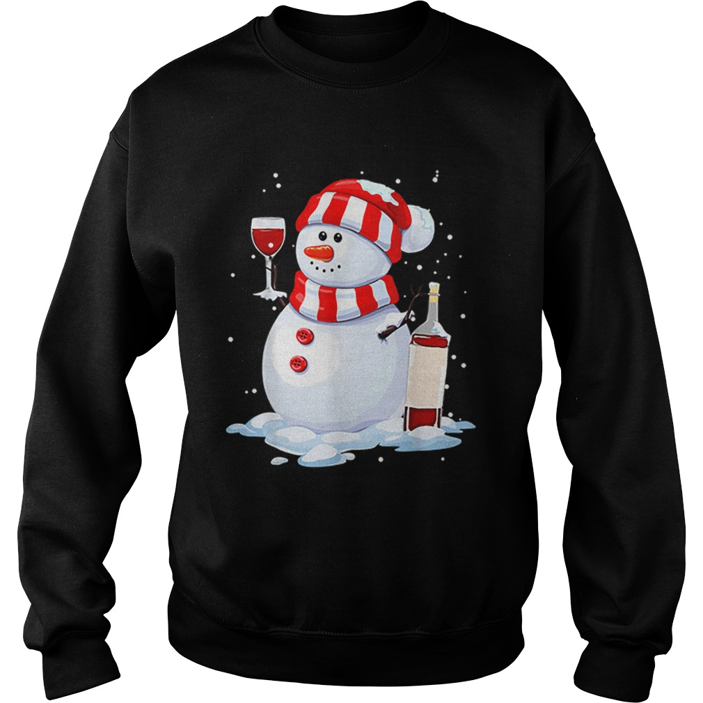 Snowman Drinking Wine Christmas  Sweatshirt