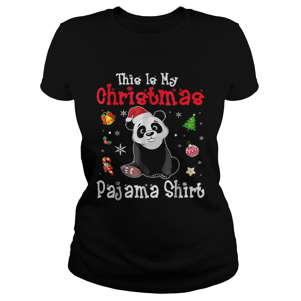 This is My Christmas Pajama Red Santa Hat Panda  Classic Ladies